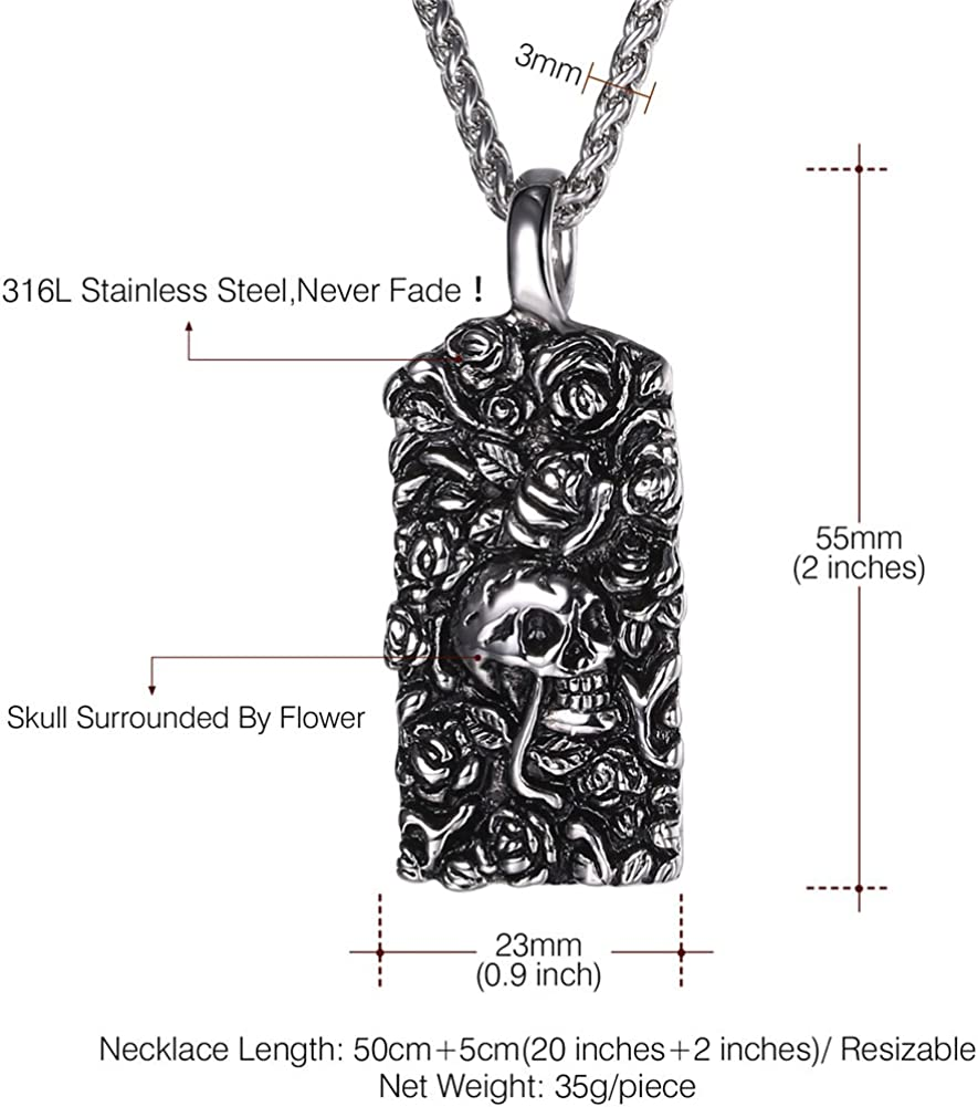 20 Inch to 26 Inch U7 Men Personalized Silver Black Gothic Skull Necklace Stainless Steel //18K Gold//Black Leather Chain Pendant