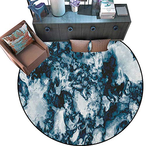 Marble Circle Rugs Unusual Gemstone Onyx Rock Nature Pattern with Vintage Paintbrush Effects Living Dining Room Bedroom Hallway Office Carpet (67