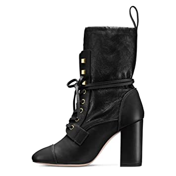 4ea2404d738 Image Unavailable. Image not available for. Color  KJJDE Premium Women s  Heel Boots Lace Up T-8141 Chunky Heel Large Size Shoe