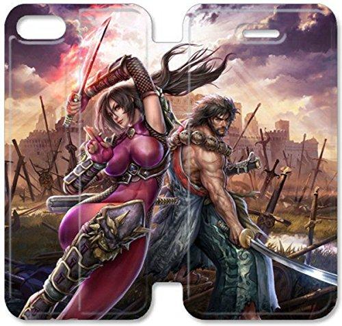 Flip étui en cuir PU Stand pour Coque iPhone 5 5S, bricolage 5 5S étui de téléphone cellulaire Soul Calibur Swords perdu Match large Je G8T7SR Concevoir un cas de l'Coque iPhone en cuir