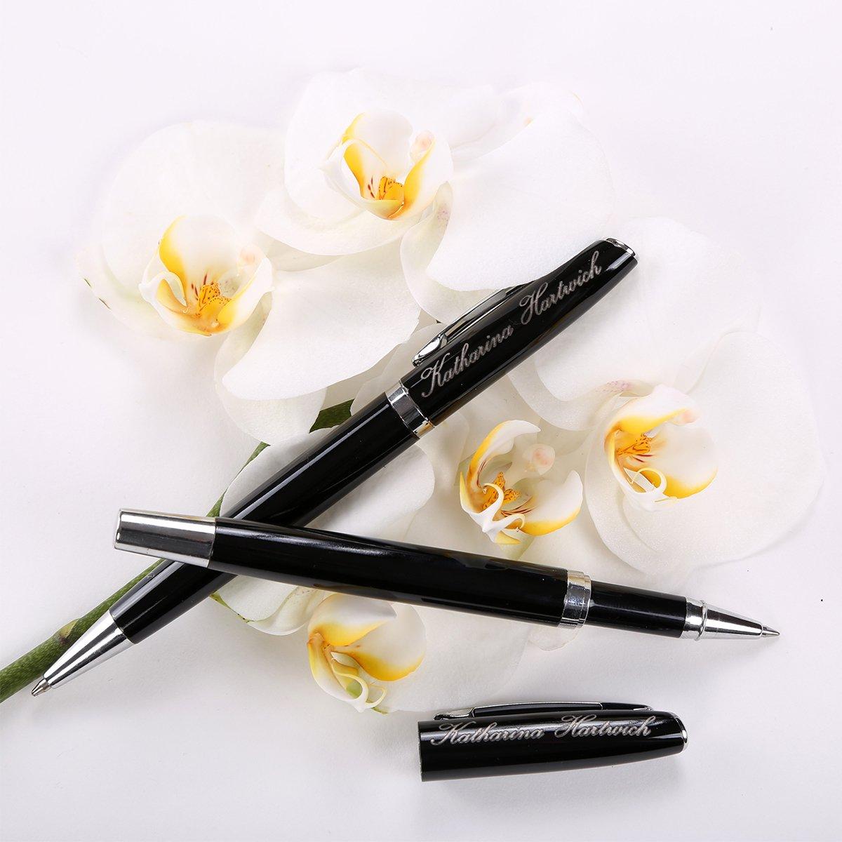 set di scrittura formato da penna a sfera e penna rollerball di colore nero polar-effekt con inchiostro nero in astuccio regalo Alphabet con incisione personalizzabile