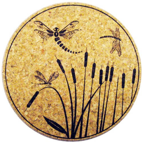 XL Coasters Dragonfly & Cattail (6 Inch, Set of 2) Oversized cork absorbent drink coasters that won't stick ()