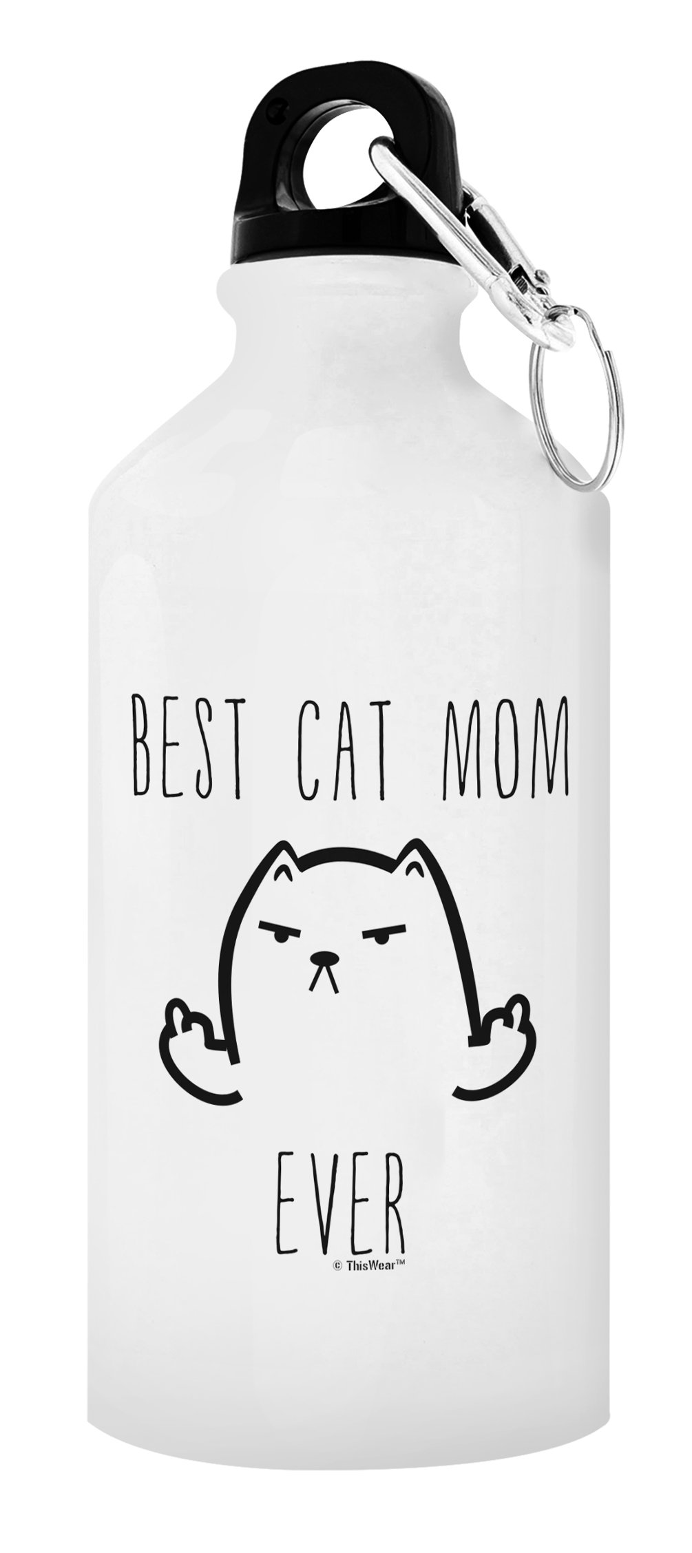 ThisWear Best Cat Mom Ever Funny Cat Middle Finger Cat Lover Gifts for Women Cat Person Gift Gift 20-oz Aluminum Water Bottle with Carabiner Clip Top Cat Mom
