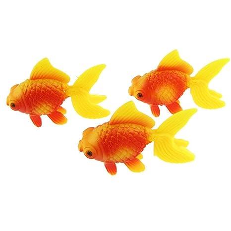 Queta 3 piezas acuario pecera de plástico nadar peces decoración amarillo rojo de color amarillo