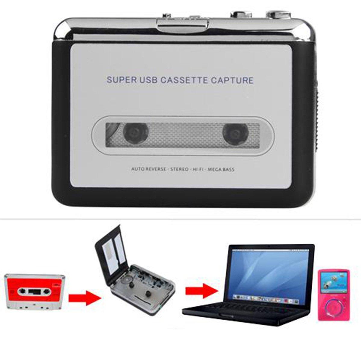 OLSUS Cassette Tape Converter -Silver + Black USB Audio Cassette Tape Converter MP3 CD by OLSUS
