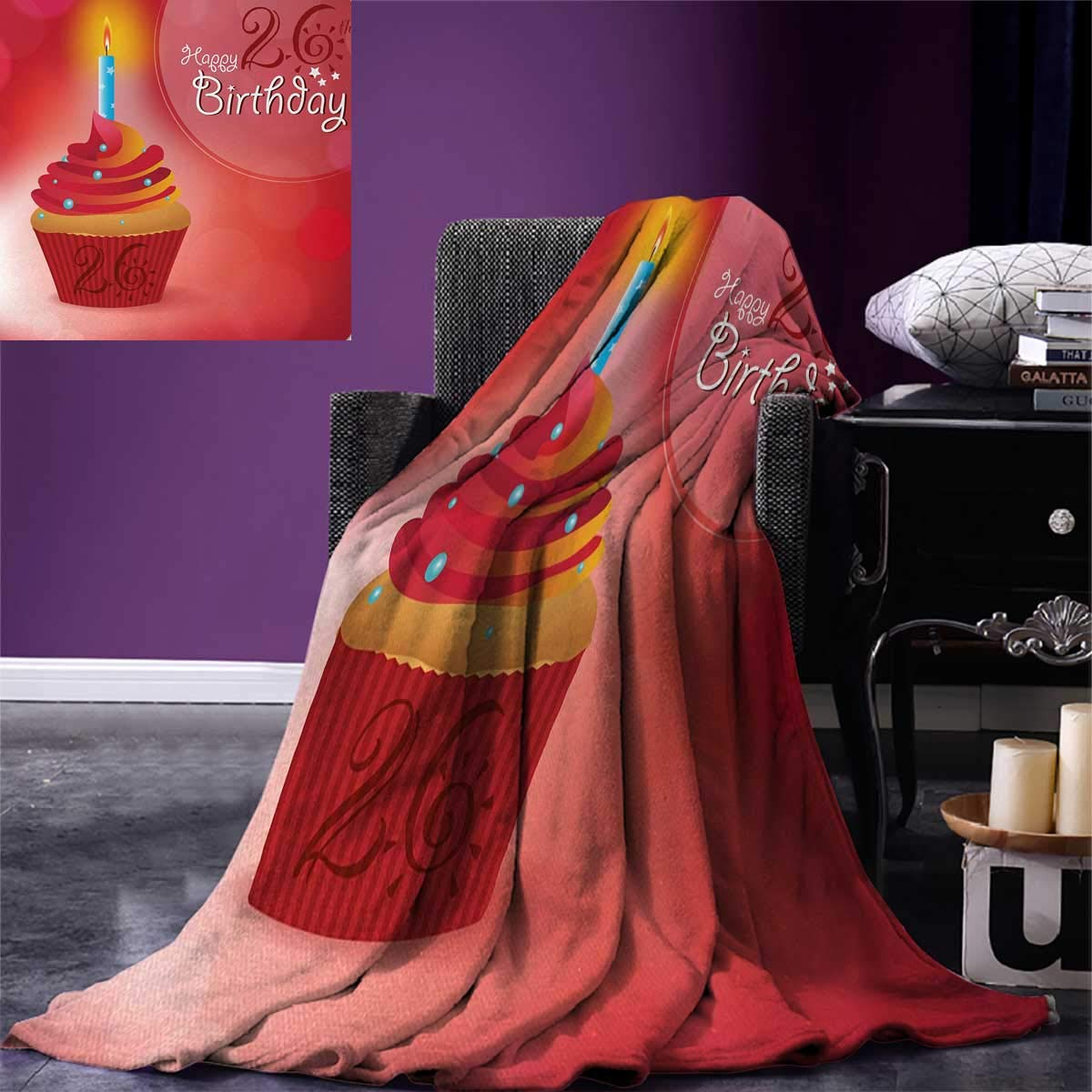 26th Birthday Digital Printing Blanket Romantic Little Yummy Cupcake Lovers Surprise Valentines Themed Print Summer Quilt Comforter 80''x60'' Ruby Orange Blue