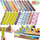 JOYIN 72 PCs Slap Band Slap Bracelets Party Bag Fillers for Kids (24 Designs) with Colorful Hearts Animal Emoji Valentine's Prints Party Favours Pack
