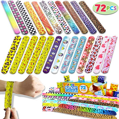 JOYIN Toy 72 PCs Slap Bracelets Valentines Day Party Favors Pack (24 Designs) with Colorful Hearts Animal Emoji and Unicorn for Valentines Gift and Classroom Exchange]()