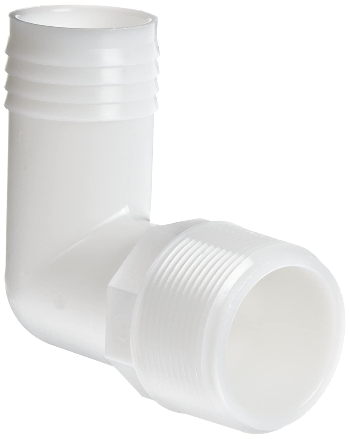 """Nylon Tube Fitting 90 Degree Elbow White 1/"""" NPT Male x 3//8/"""" Barbed Pack of 10"""