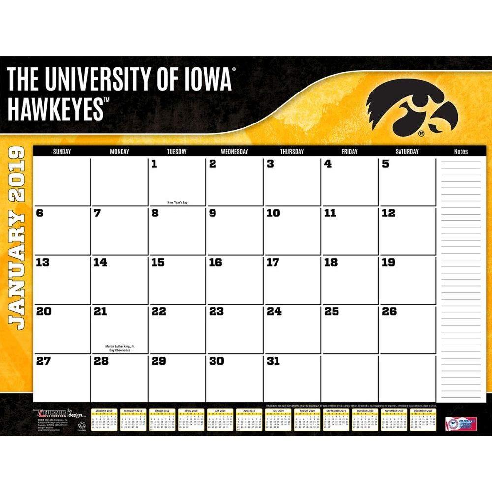 Turner 1 Sport Iowa Hawkeyes 2019 22X17 Desk Calendar Office Desk Pad Calendar (19998061492)