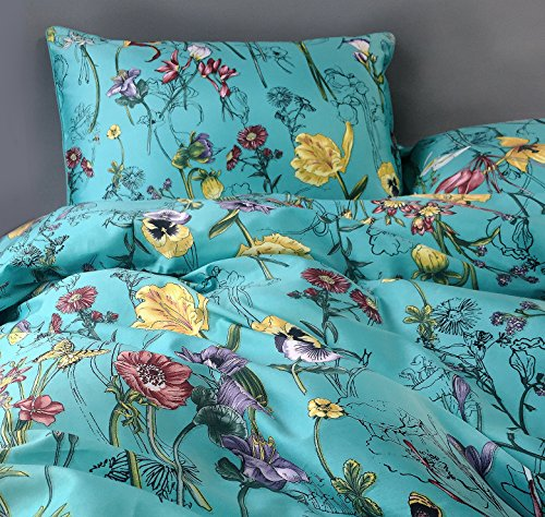 Vintage Botanical Flower Print Bedding 400tc Cotton Sateen Romantic Floral Scarf Duvet Cover 3pc Set Colorful Antique Drawing of Summer Lilies Daisy Blossoms (King, Blue)