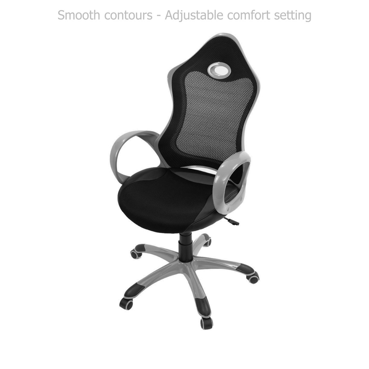 Modern Ergonomic Design High Back Chair Mesh Seats Soft Sponge Upholstery 360 Degree Swivel Home Office Gaming Executive Computer Desk Task - Black/Grey #1540
