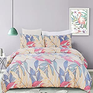 Vaulia Lightweight Microfiber Duvet Cover Set, Bright and Colourful Leaf Printed Pattern, Pink Multi-Color - King