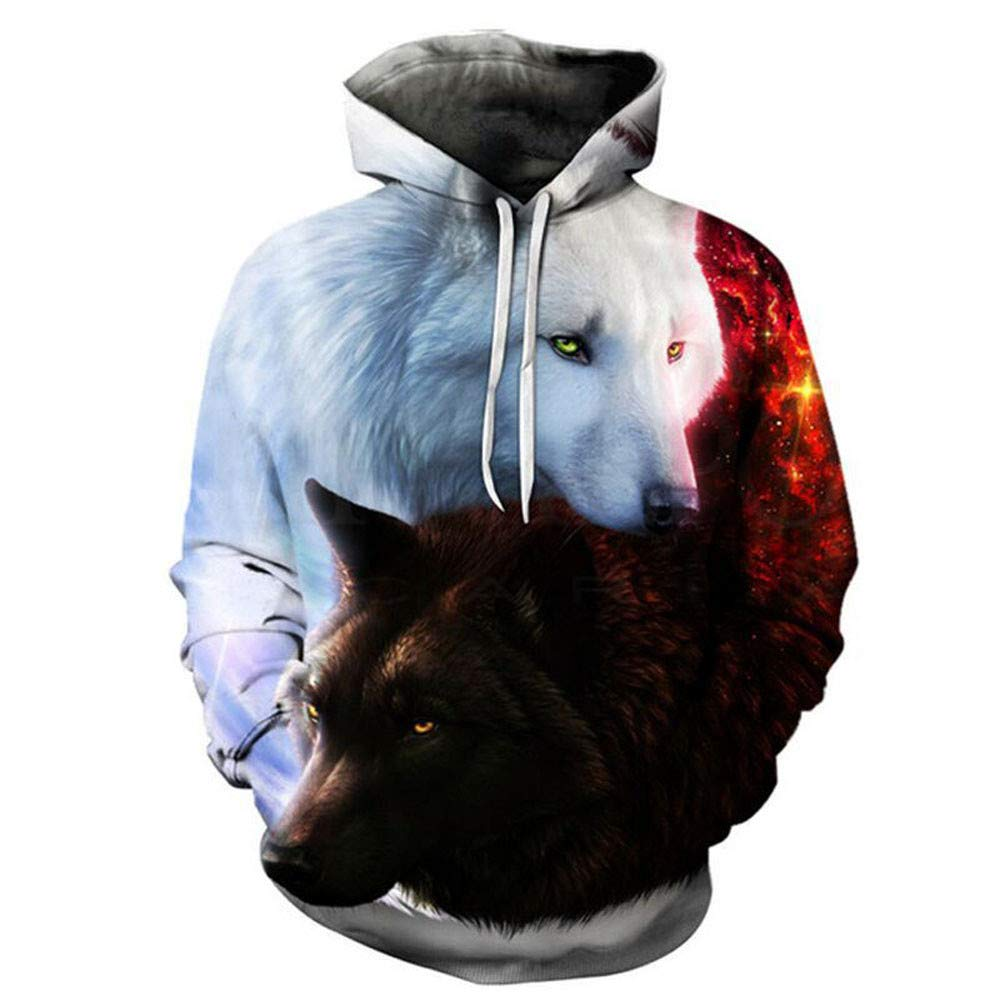 ShenPr Winter Men's Wolf 3D Print Graphic Pockets Athletic Sweaters Pullovers Fashion Hoodies Sweatshirts