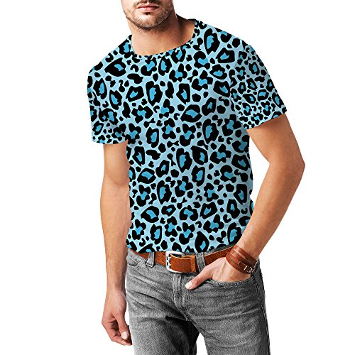 Queen of Cases Bright Leopard Print Blue - M - Mens Cotton Blend T-Shirt