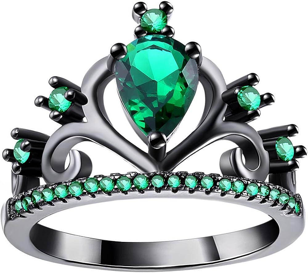 WANGYUSHENG Womens Black Gold Plated Green Emerald Cubic Zirconia CZ Princess Crown Tiara Ring Wedding Band