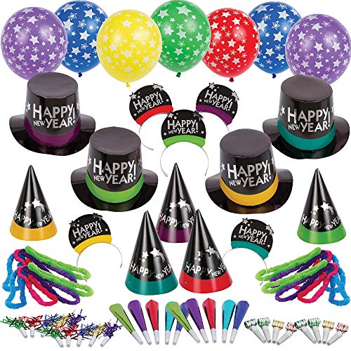 Party City Not So Simply Stated New Year's Eve Kit for 100, Includes Cone and Top Hats, Tiaras, Foil Horns and Balloons -