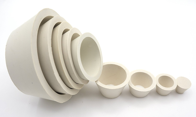 Soccerene Buchner Funnel Flask Adapter Set, Filter Adapter Cones Set, Tapered Collar White, Pack of 9