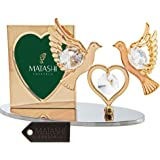 09cd2e1b9e9a 24K Gold Plated Picture Frame with Crystal Decorated Double Dove Figurine  on a Base by Matashi