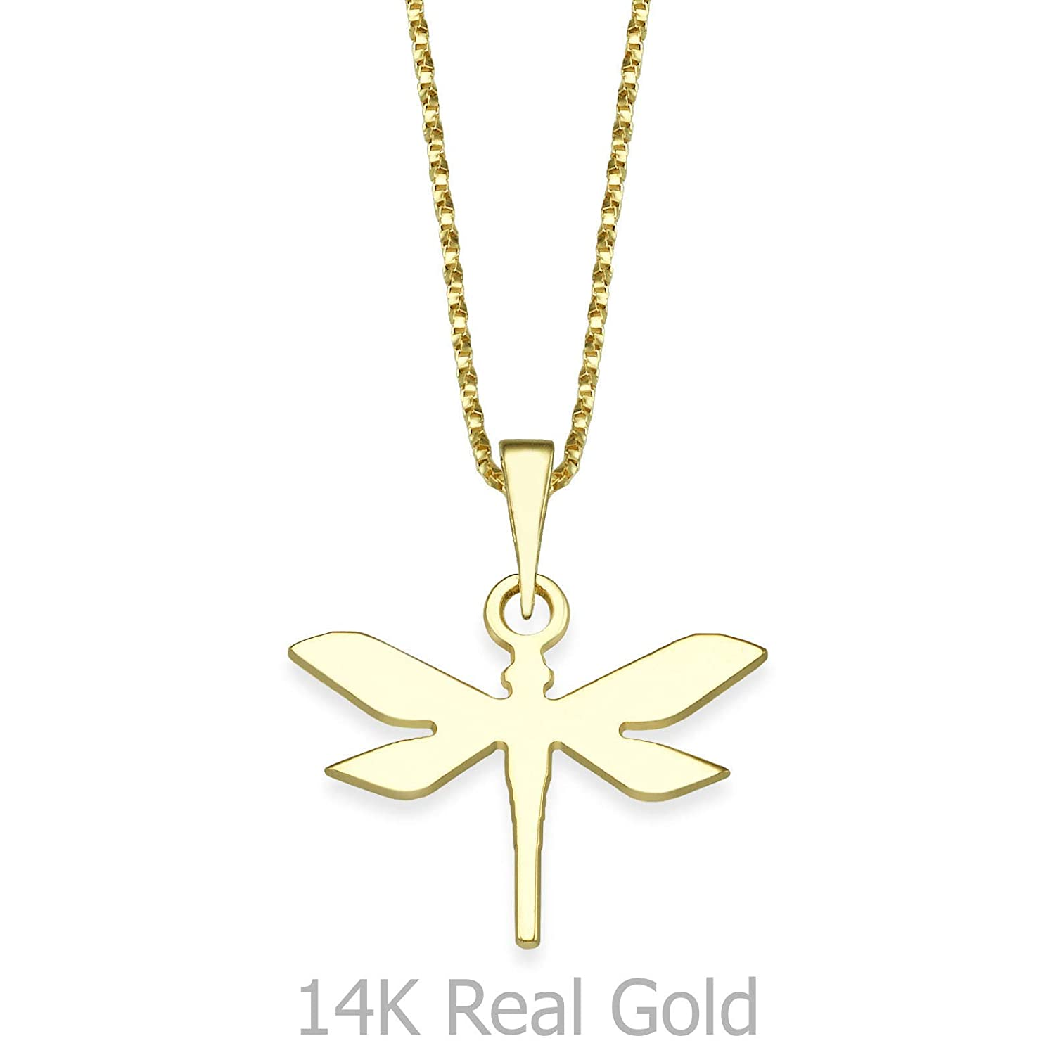 14K Yellow Gold Dragon Fly Pendant With Necklace