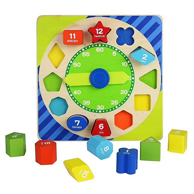 Toyshine Wooden Shape Sorting Blocks Teaching Clock with Geometry Numbers (13 Pieces)