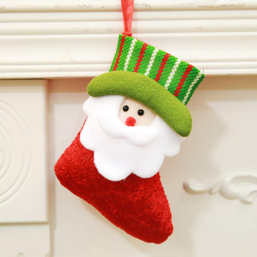 Chenway Christmas Santa Claus Cute Ornaments Stocking Sock | Xmas Tree Hanging Festival Party Tree Decoration Candy Bag Chilren,Women,Baby Girl,Adults (Red)