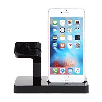 FACEVER Soporte de Cargador para Apple Watch, Soporte y Estación de Carga para Apple iWatch Series 3/2/1, iPhone X 8 7 Plus 6S, iPod -Negro