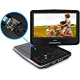 "Portable DVD Player for Car, SYNAGY 10.1"" Personal DVD Player for Kids, with 270 Degree Swivel Screen and 4 Hours Rechargeable Battery(Black)"
