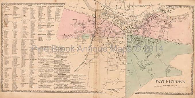 Amazon.com: Watertown Village NY Vintage Map Beers 1864 Original ...