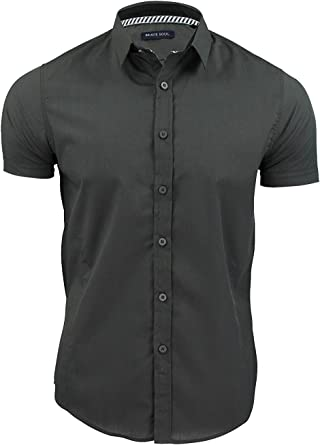Love My Fashions Camisa Lisa para Hombre, Manga Corta, Costuras y Dardos, Tallas M L XL: Amazon.es: Ropa y accesorios