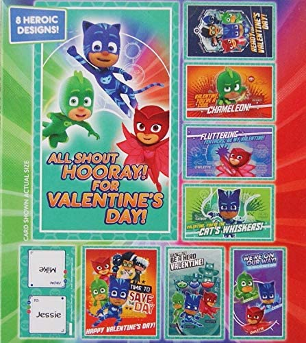 Peppa Pig and PJ Masks 64 Total Boys and Girls Classroom Valentine Cards Bundle