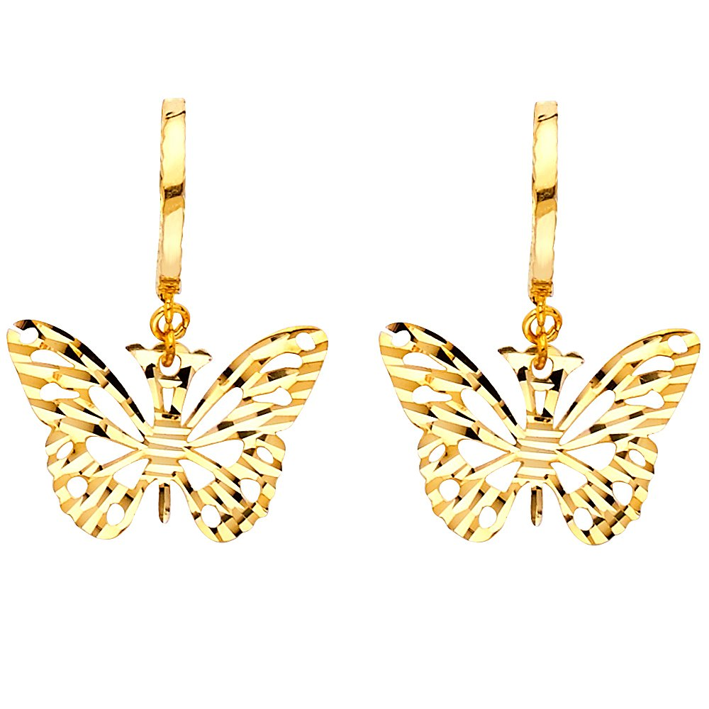 Solid 14K Gold Diamond Cut Butterfly Hanging Earrings