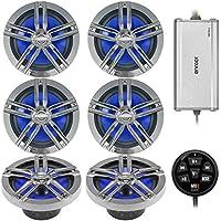 3 x Enrock Marine 180W 6.5 Water-Resistant Loudspeakers (Charcoal)(3 pairs), Enrock Marine 4-Channel Marine/Powersports Amplifier, MB Quart N1-WBT Waterproof Wired Bluetooth Preamp Controller