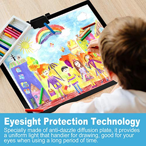 A3 Tracing Light Box Large Drawing Pad, Ultra-Thin LED Tracer Copy Board with Magnet Clip, Stepless Dimming & 6-Level Brightness Touch Control for Artists Animation Calligraphy Sketching Tattoo Design