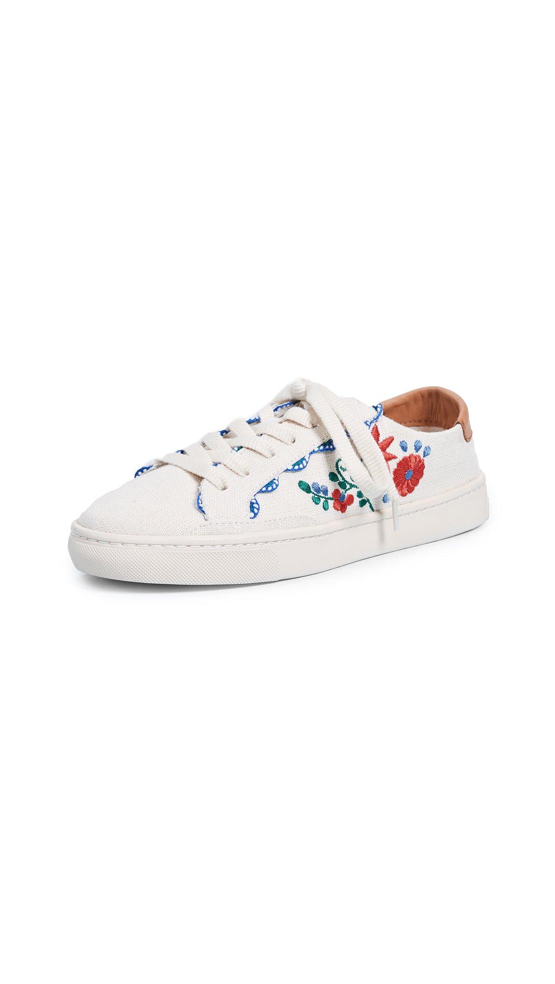 Soludos Women's Ibiza Embroidered Sneaker, Blush, 8.5 Regular US