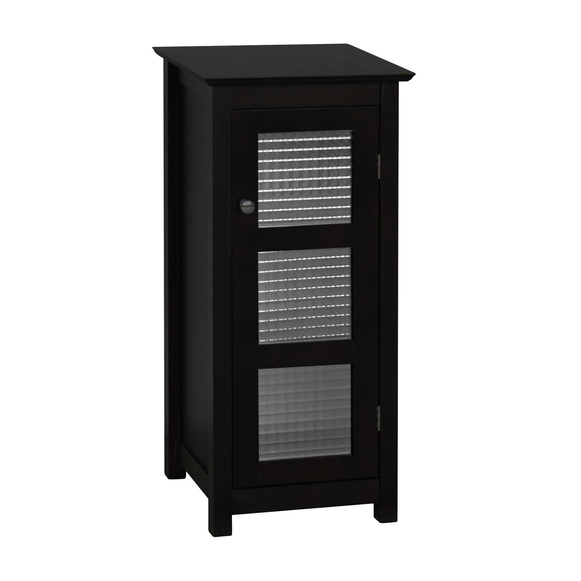 Stylish Functional Classic Design Glass Door Espresso Floor Cabinet