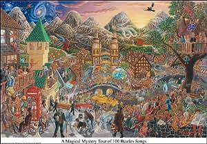 """El viaje mágico y misterioso por 100 canciones de los Beatles. Poster grande PLASTIFICADO con cita en INGLES """"A Magical Mystery Tour of 100 Beatles Songs"""". Medidas aprox. 81 x 56 cm."""