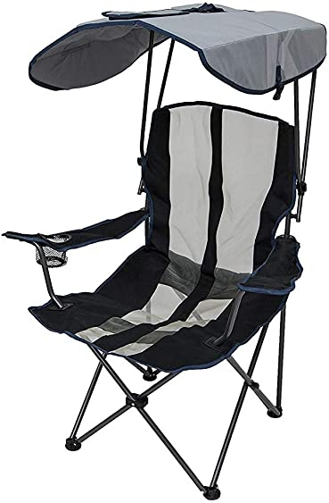 SwimWays Kelsyus 6038852 Original Outdoor Camping Folding Lawn Chair with Canopy and Cupholder, Navy Gray
