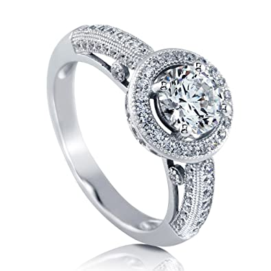 2ad4670cfd245 BERRICLE Rhodium Plated Sterling Silver Halo Milgrain Engagement Ring Made  with Swarovski Zirconia Round 1.51 CTW