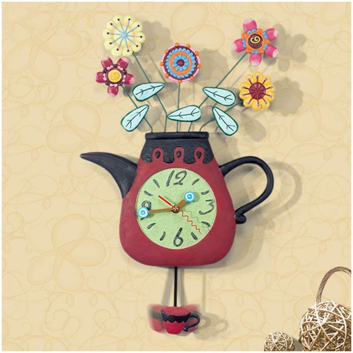 Mings Hermosa y Practica Reloj de Pared Creativo Sala de Estar Arte silencioso Resina de Resina Decorativa Reloj de Pared Columpio