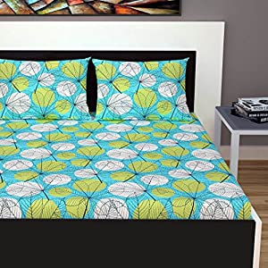 Divine Casa 100% Cotton 144 TC Floral Double Bedsheet Cotton with 2 Pillow Covers – Blue and Green