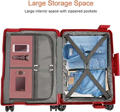 Modoker 20 Hardside Carry On Spinner Suitcase Red