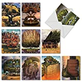 M6729TYG Tree House Dreams: 10 Assorted Thank You Note Cards Featuring Imaginative and Fantastically Imagined Tree Escapes, w/White Envelopes.