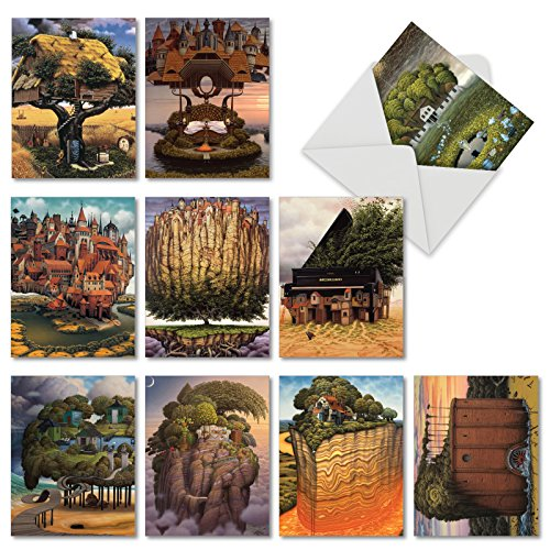 Assorted Tree House Dreams Blank Greeting Cards - 10 Note Cards with Envelopes, Imaginative, Fantasy, Illustrated Treehouses All Occasion Cards, Stationery Notecards 4 x 5.12 inch M6729OCB