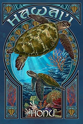 Hawaii - Sea Turtle Art Nouveau (9x12 Art Print, Wall Decor Travel Poster) ()