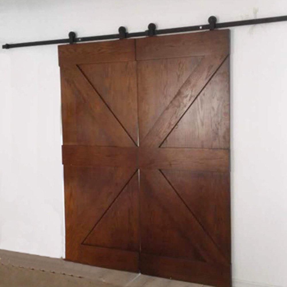 hahaemall 8/ft//rouleau 243,8/cm Antique Noir Pays Grange en Bois Double Ensemble de Hardware Armoire porte coulissante en acier