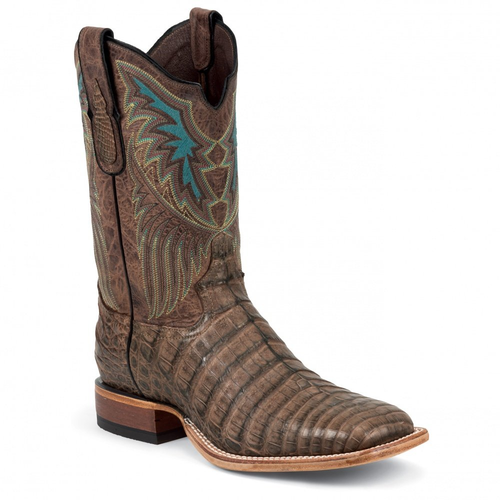 6076 Tony Lama Men's Belly Caiman Western Boots - Cigar