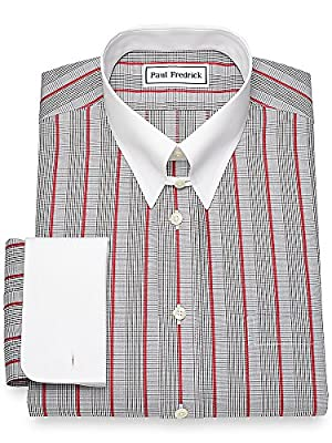 Paul Fredrick Men's Non-Iron Cotton Glen Plaid with Satin Stripe Dress Shirt