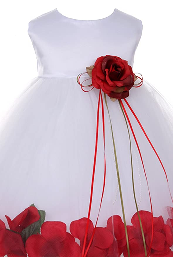 a448d4ca56c Amazon.com  stylesilove Floating Petals White Satin Tulle Baby Girl Flower  Girl Dress  Clothing