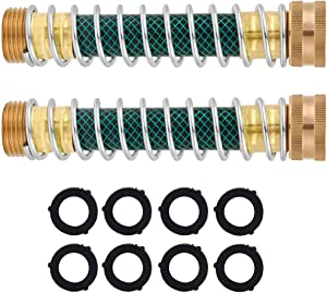 QWCZY Garden Hose Protector, Hose Extension Adapter with Coil Spring, Solid Brass has Standard 3/4
